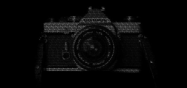 An image of a camera made of words.