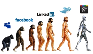 An image of the evolution of man in comparision to social media.